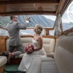 Venetian Style Boat wedding couple